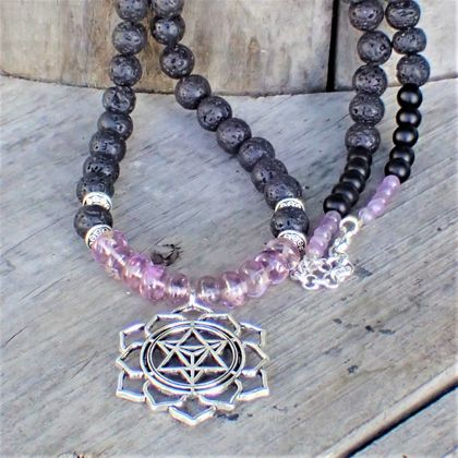 BoHo Mandala Frosted Amethyst and Lava Beads