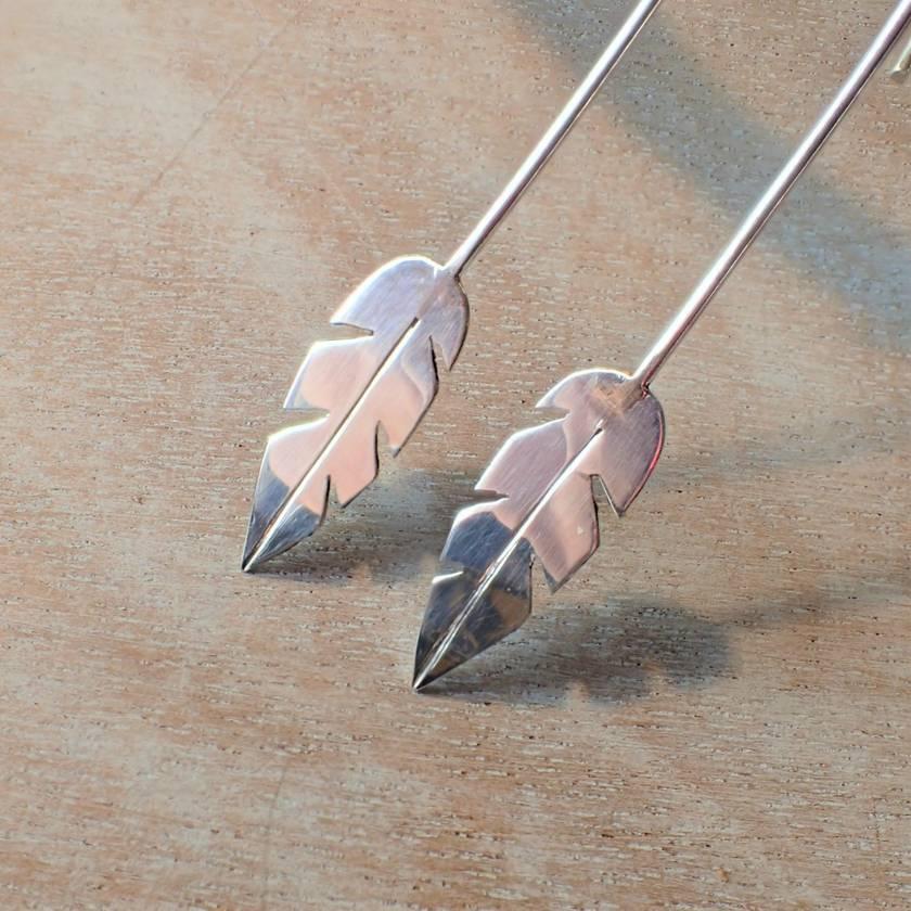 Long Feather Silver Earrings.