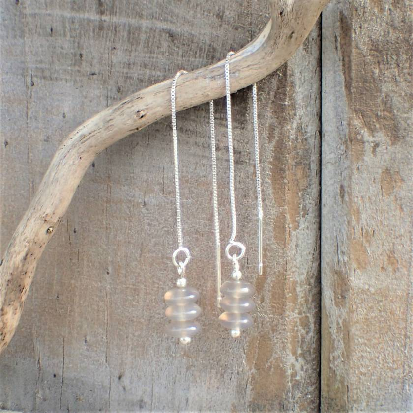 Agate Silver Thread Earrings.