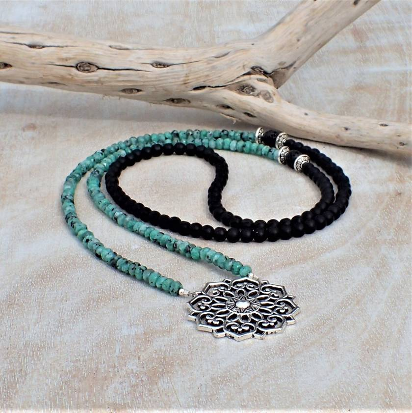BoHo Mandala Zoisite and Lava Beads