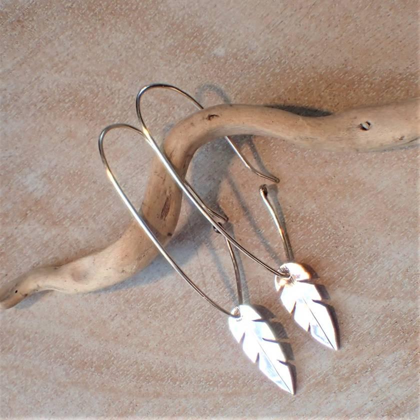 Feather Silver Earrings.
