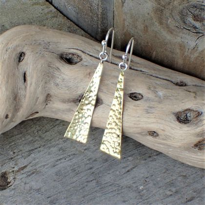 Geometric Silver and Brass Earrings.