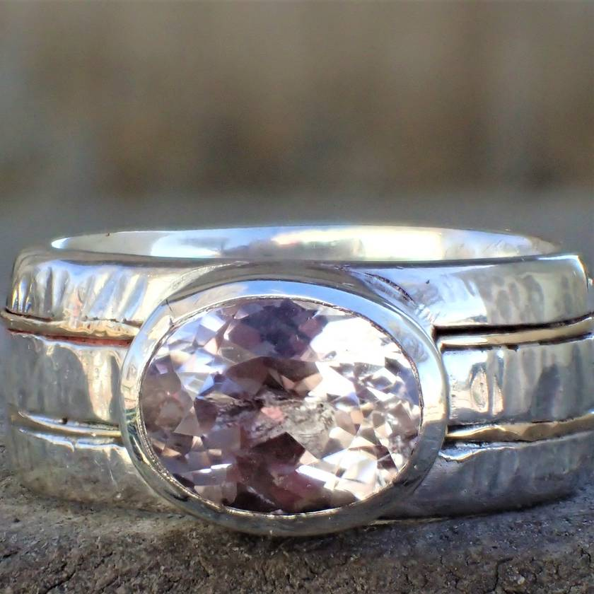 Kunzite 9ct and Silver Ring.