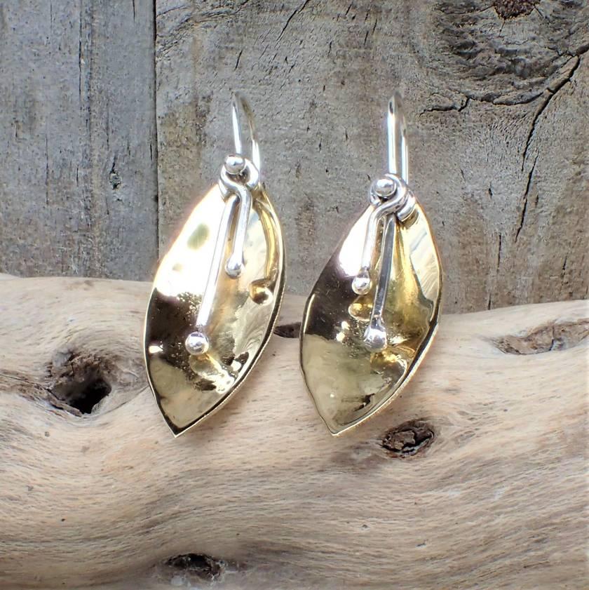 Flower Petal Brass and Silver Earrings.