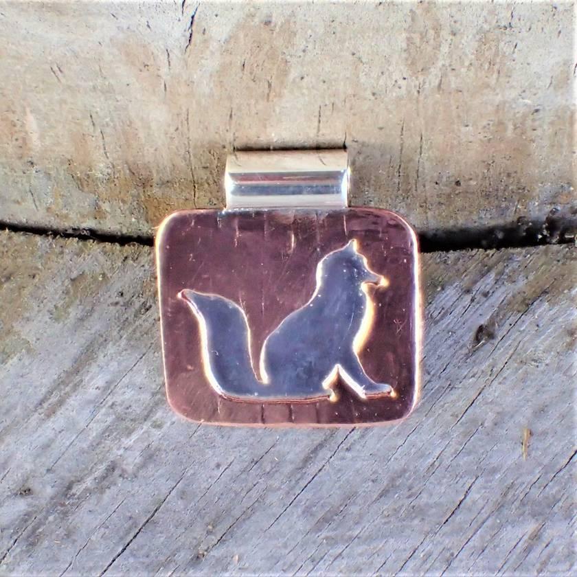 Silver and Copper Fox Pendant