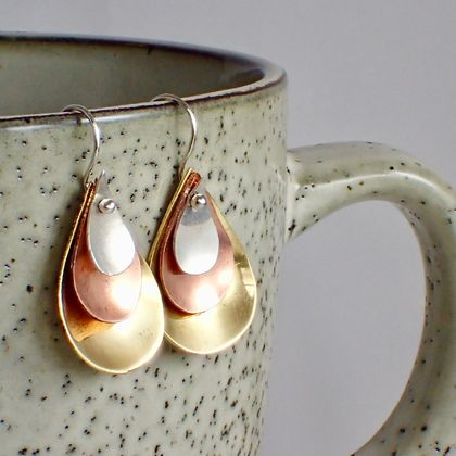 Teardrop Silver Copper and Brass Earrings.