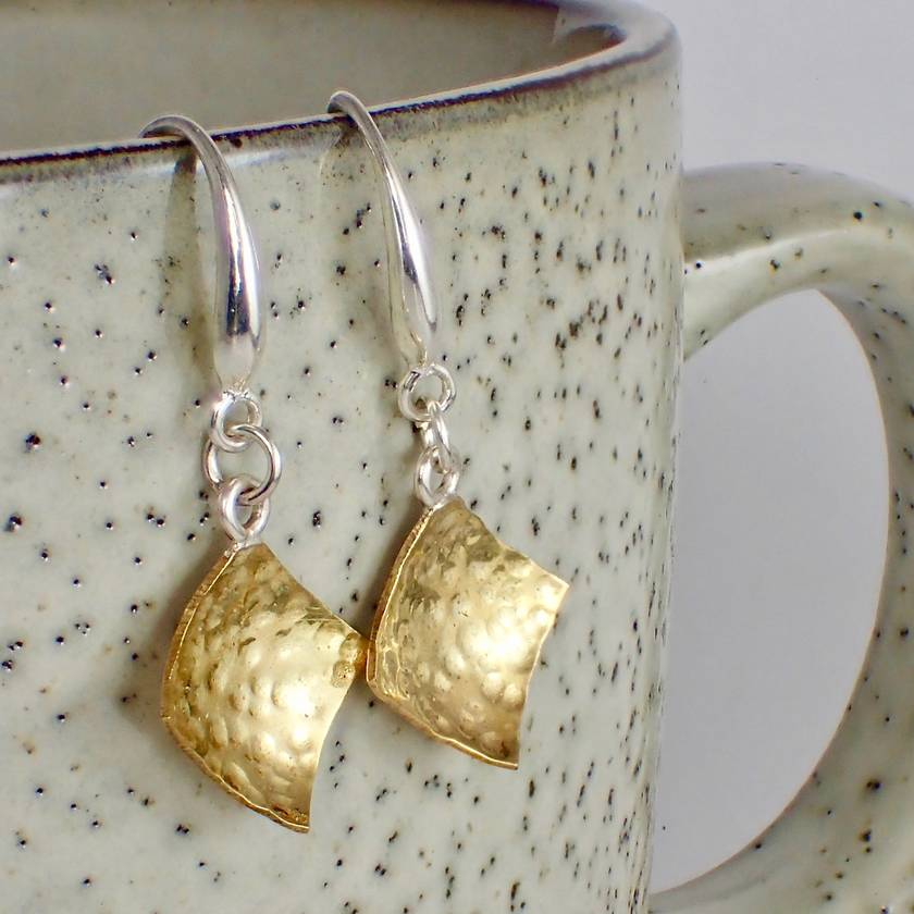 Textured Brass Earrings.
