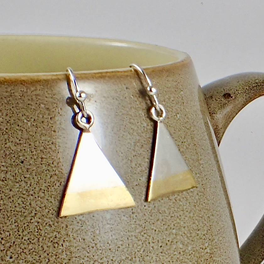 Geometric Silver and Brass Earrings.