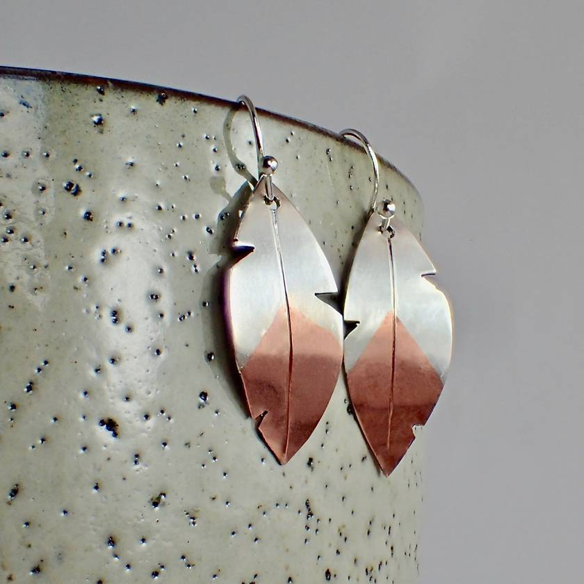 Feather Silver and Copper Earrings.