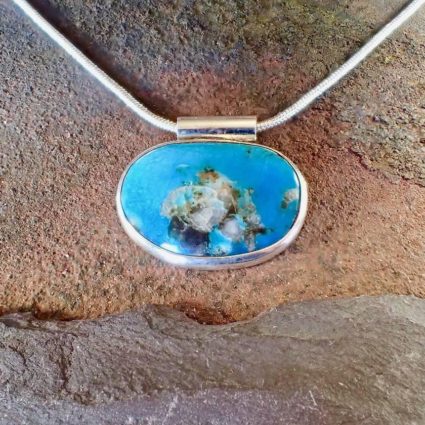 Sleeping Beauty Turquise Pendant Necklace