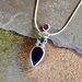 Amethyst and Tourmaline Pendant Necklace