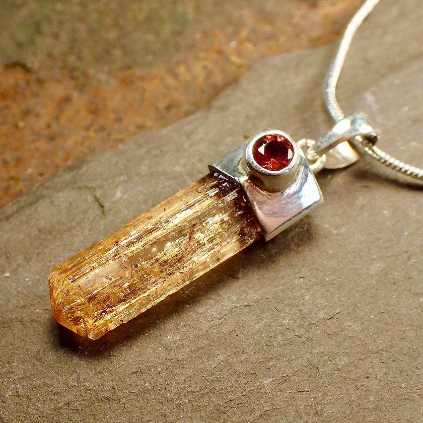 Imperial Topaz and Garnet Pendant Necklace