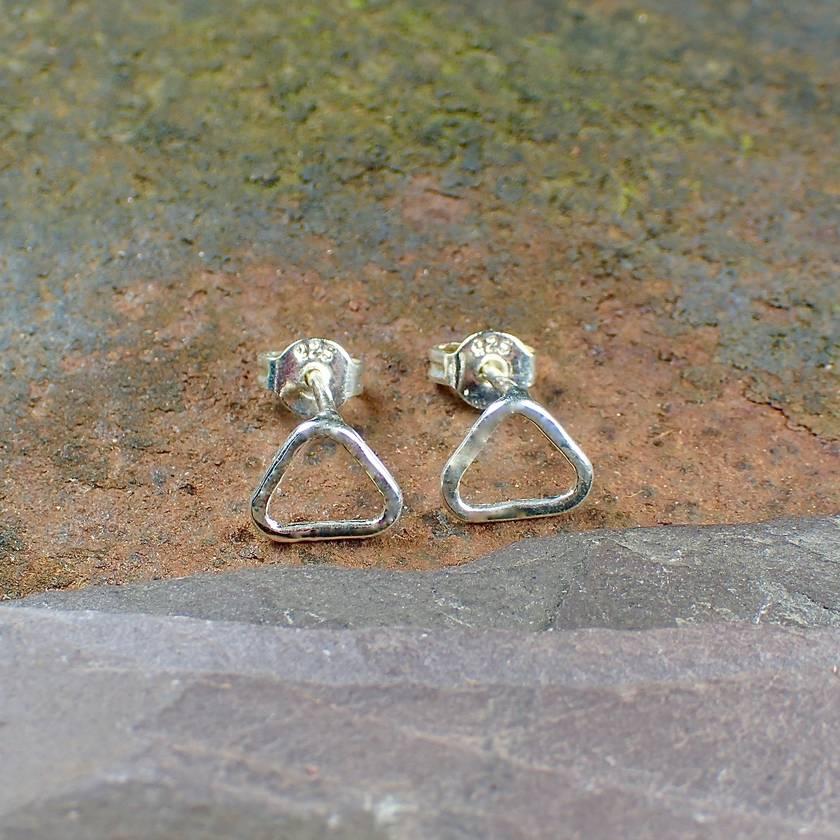 Silver Triangular Stud Earrings.