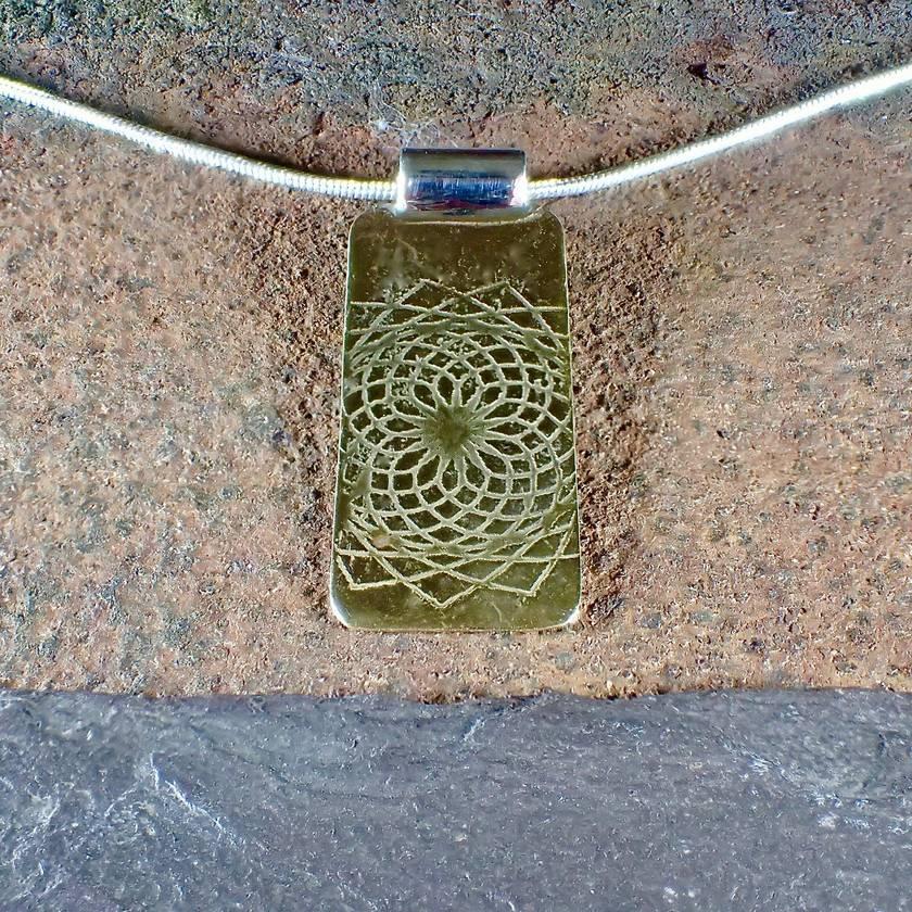 Etched Mandala Pendant Necklace
