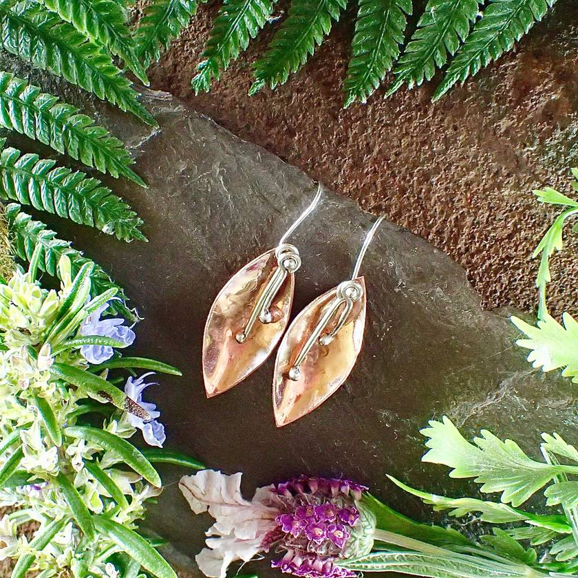 Flower Petal Copper and Silver Earrings
