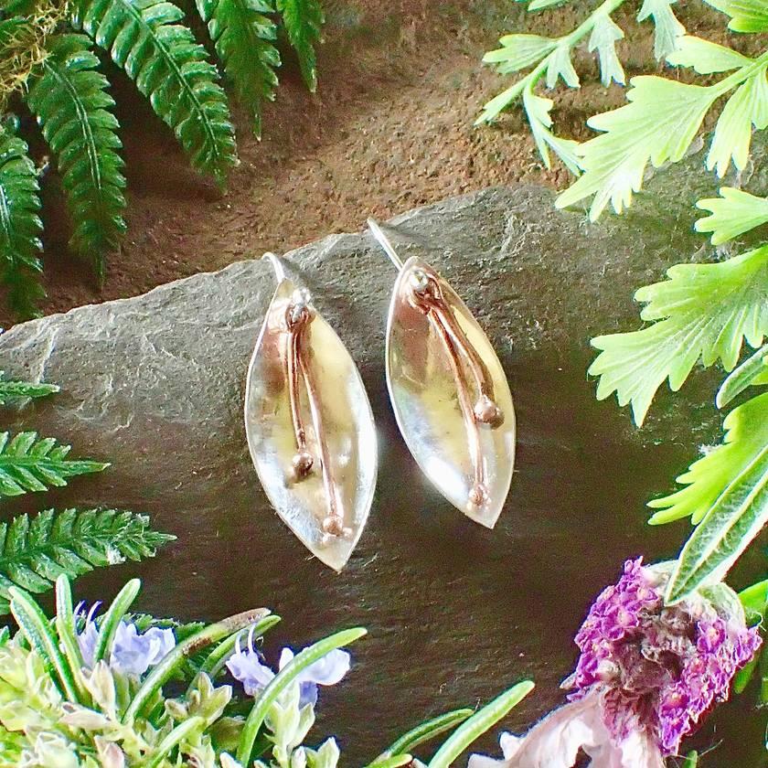 Flower Petal Silver and Copper Earrings