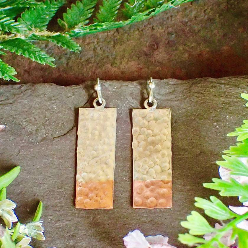 Silver and Copper Rectangle Earrings