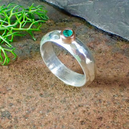 Handmade Emerald 9ct gold and Silver Ring