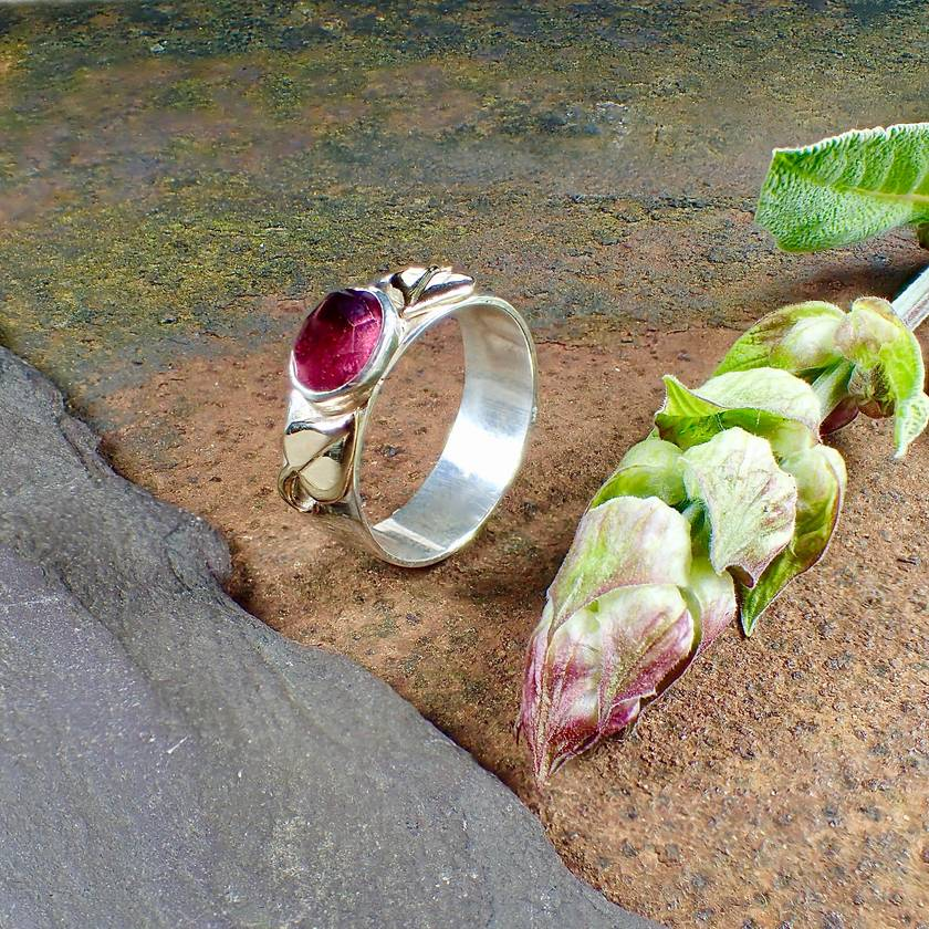 Rubellite Gold and Silver Ring
