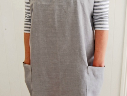 Cross back grey linen apron, Japanese style apron, no-tie apron, women's apron, florist apron, craft apron, housewarming gift, gift for her