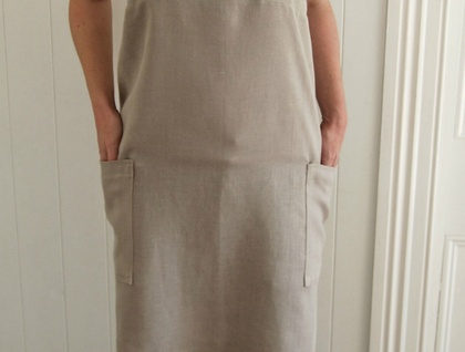 Cross back apron in 100% heavyweight, rustic  linen, Japanese apron, No tie apron, women's apron,natural linen, gift for her, housewarming gift