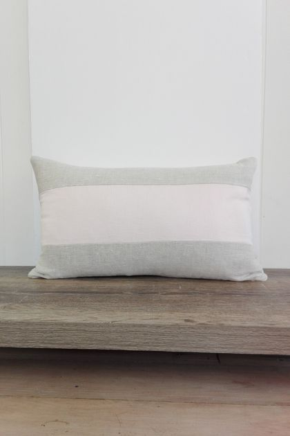 REDUCED - Washed linen cushion cover in pale pink and natural stripe
