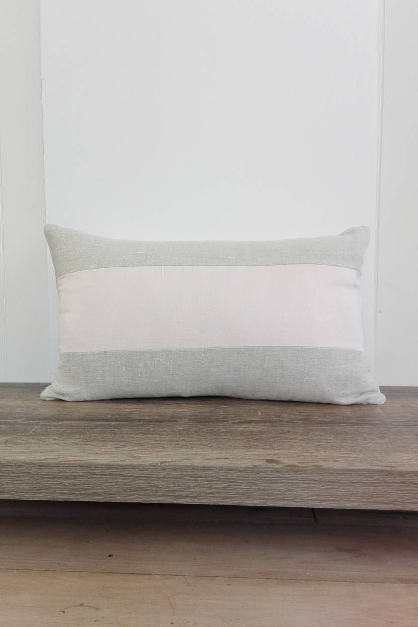 Washed linen cushion cover in pale pink and natural stripe