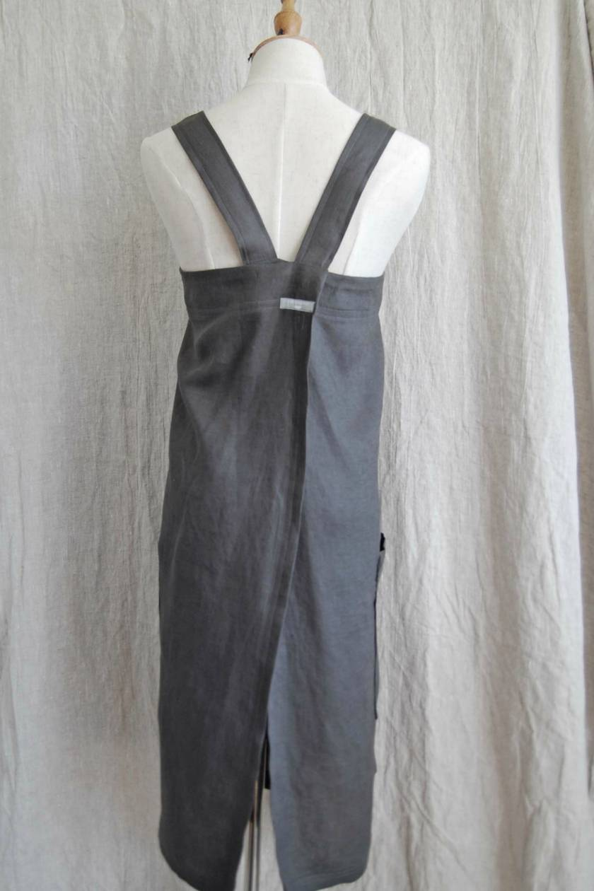 Smooth linen, cross back, japanese style pinafore apron in slate grey