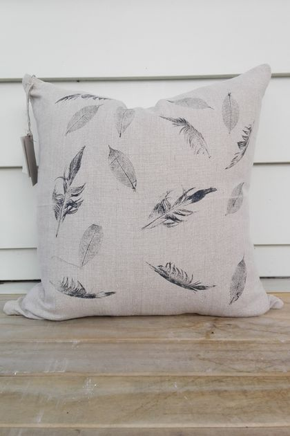Hand printed 100% heavyweight linen cushion cover 50cm x 50cm