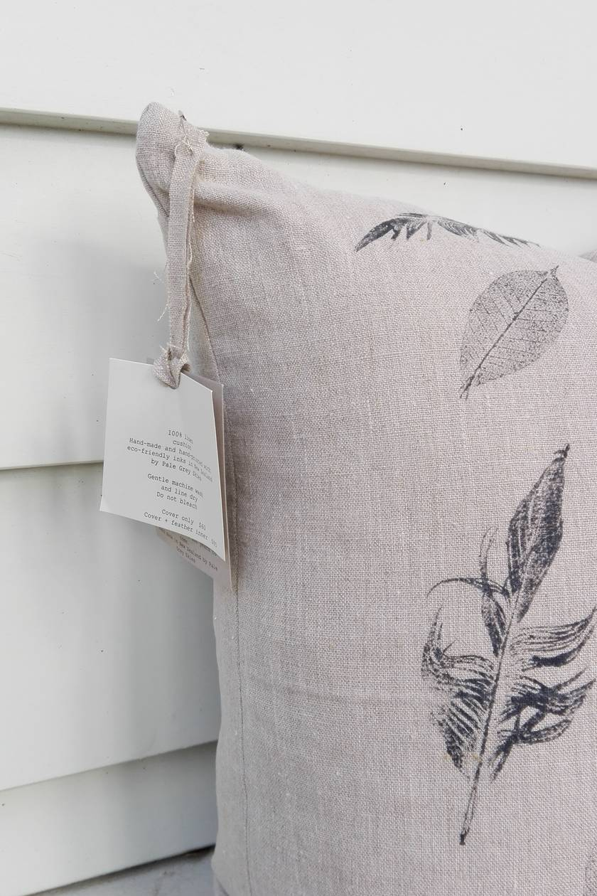 SALE - WAS $60, NOW $40 Hand printed 100% heavyweight linen cushion cover 50cm x 50cm