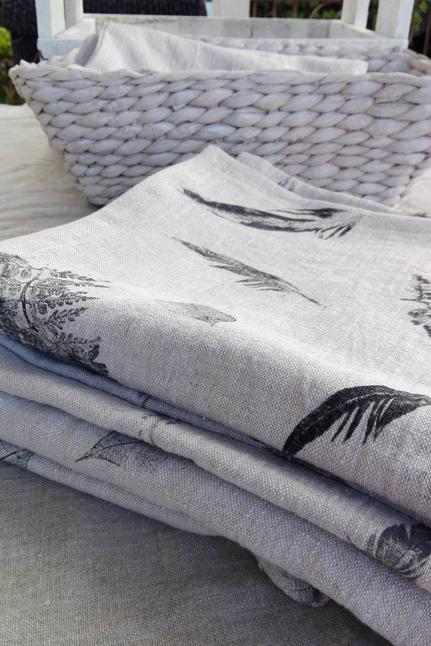 SALE - WAS $90, NOW $50.  100% linen, hand printed, table runner in heavyweight, rustic linen