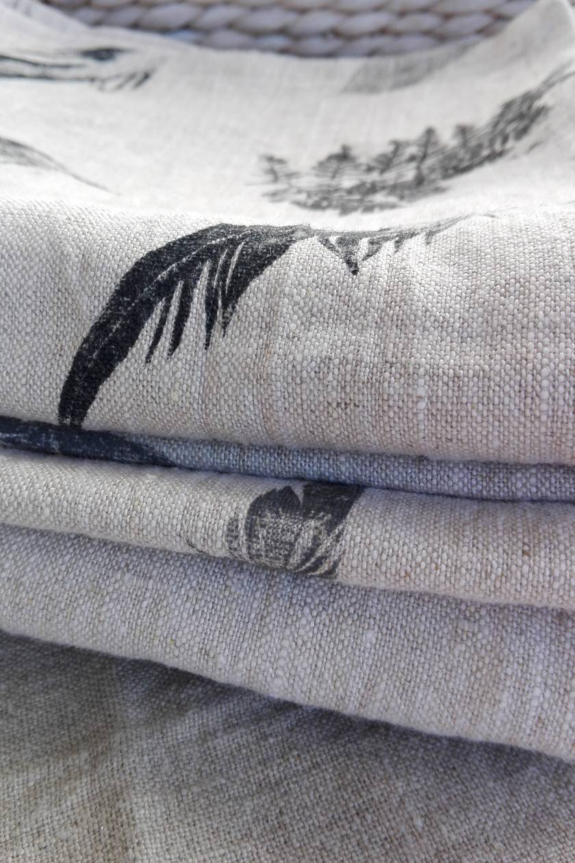 100% linen, hand printed, table runner in heavyweight, rustic linen