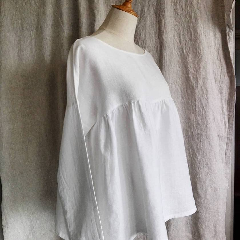 Pure linen gathered top with long sleeves - made to order