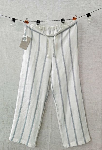 Striped lounge pants/pyjama pants in softened, pre-washed linen