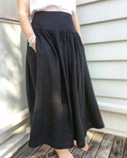 Pure linen gathered  boho skirt