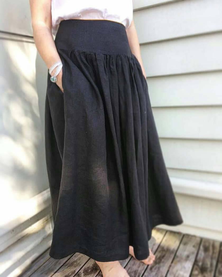 f5827c040b0 Pure linen gathered boho skirt