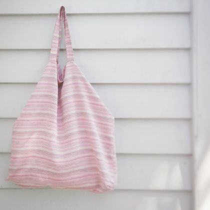 Striped linen oversize beach bag