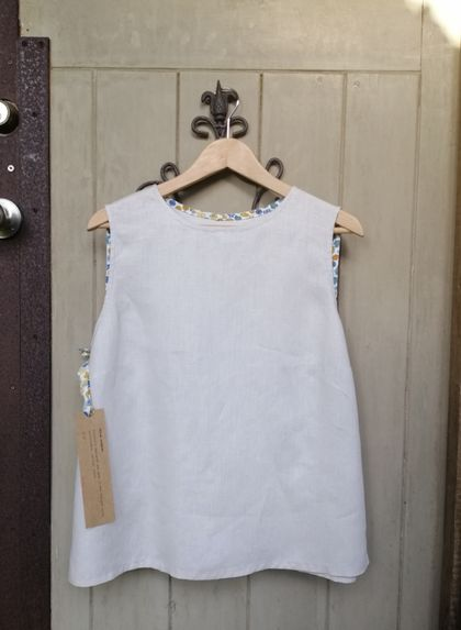 REDUCED - OVER 50% OFF Linen singlet with Liberty trim