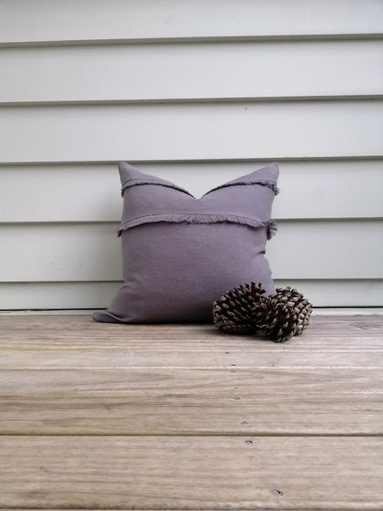 Softened linen cushion cover in asphalt grey