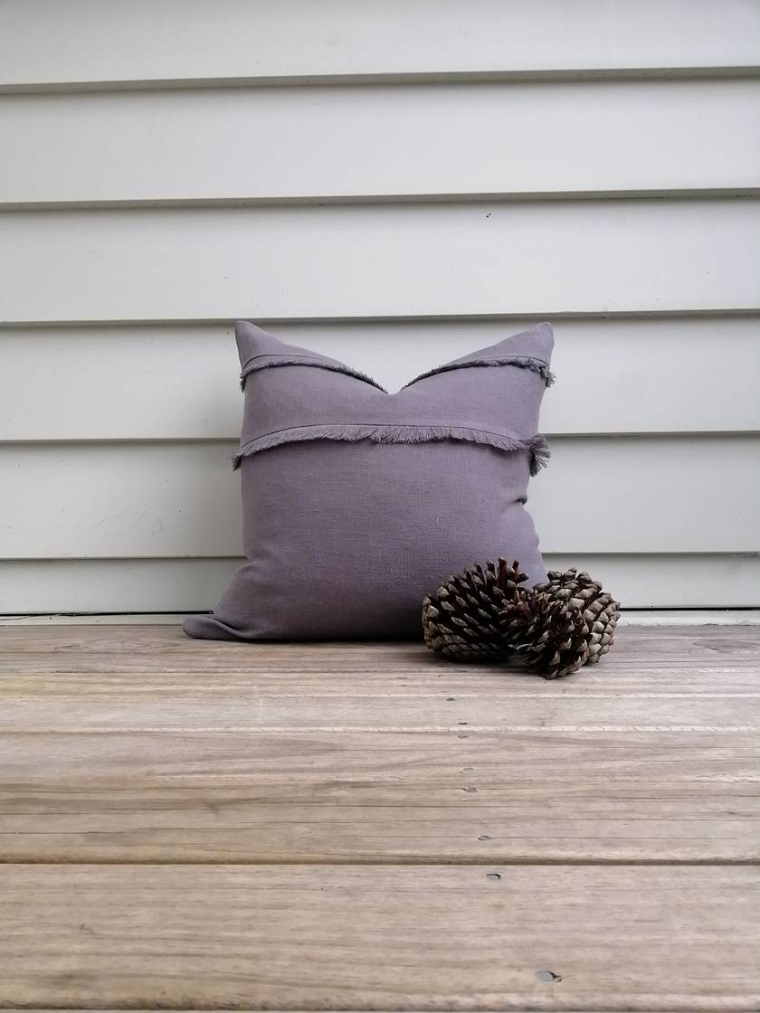 REDUCED - OVER 50% OFF  Softened linen cushion cover in asphalt grey