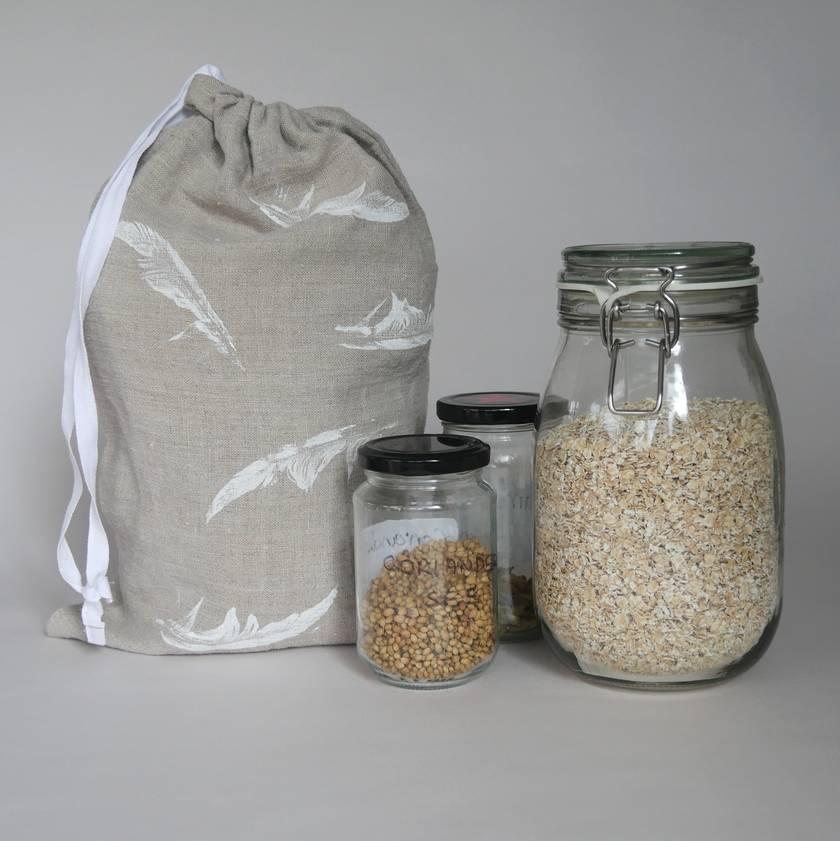 Hand printed linen produce bag