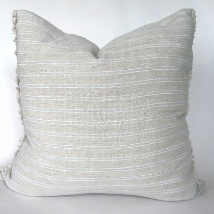 REDUCED -50% OFF Striped linen frayed edge cushion cover