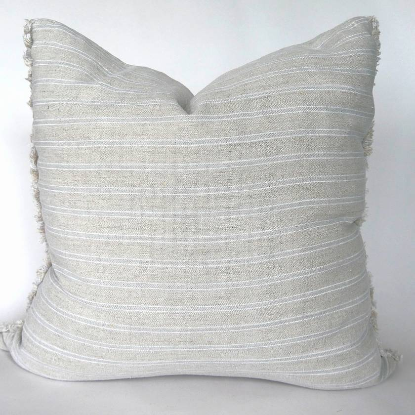 Striped linen frayed edge cushion cover