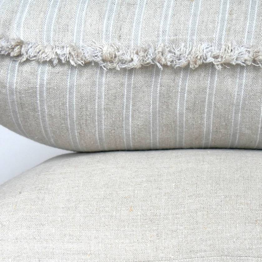SALE - WAS $50, NOW $30 Striped linen, frayed edge cushion cover