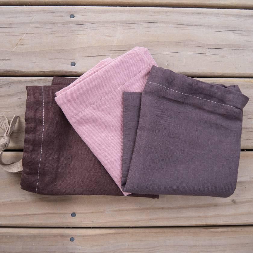 Set of 3 linen storage bags