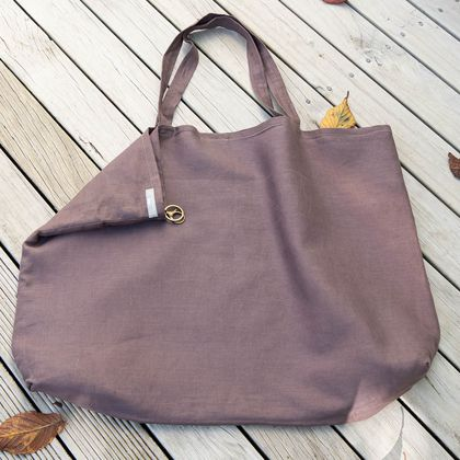 Large cocoa linen market bag