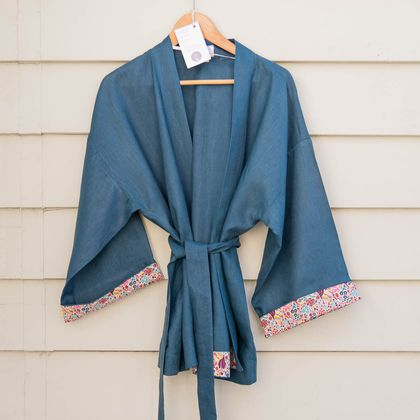 Longer length wrapover linen jacket with kimono inspired sleeves