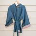 Longer length wrapover linen jacket with kimono inspired sleeves