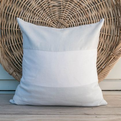 Reduced - washed linen color block cushion cover