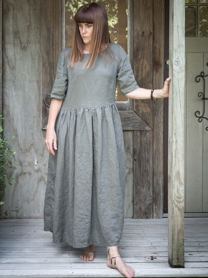 Washed linen gathered dress